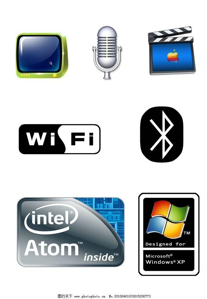 windows图标 电视 蓝牙 无线网 麦克风 电影图标 psd分层素材 源文件图片