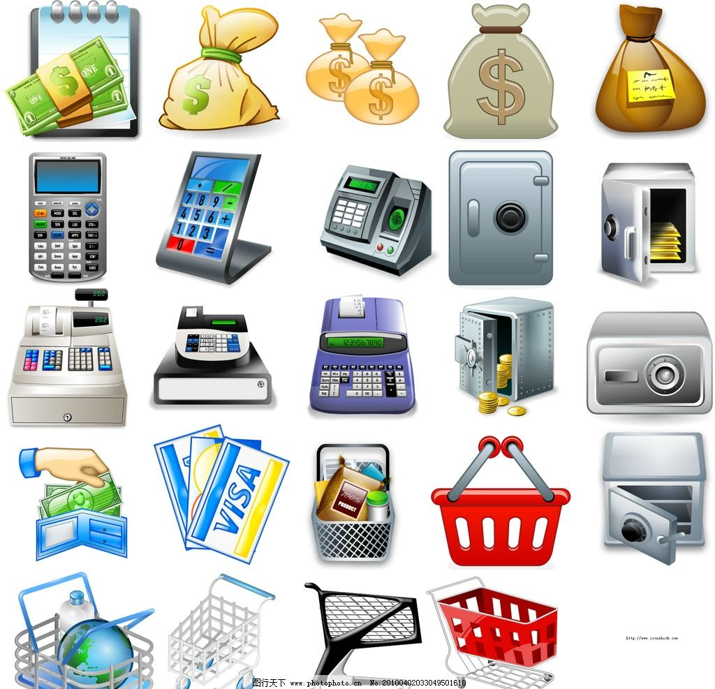 金融商业类图标 购物篮 购物车 保险柜 收银机 钱袋 银行卡 现金 钱包