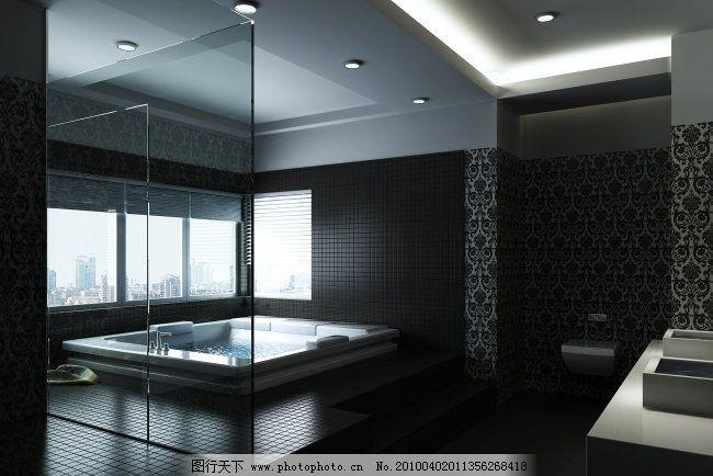 黑白浴室ps效果免费下载 室内设计 黑白浴室ps效果 室内设计 家居装饰
