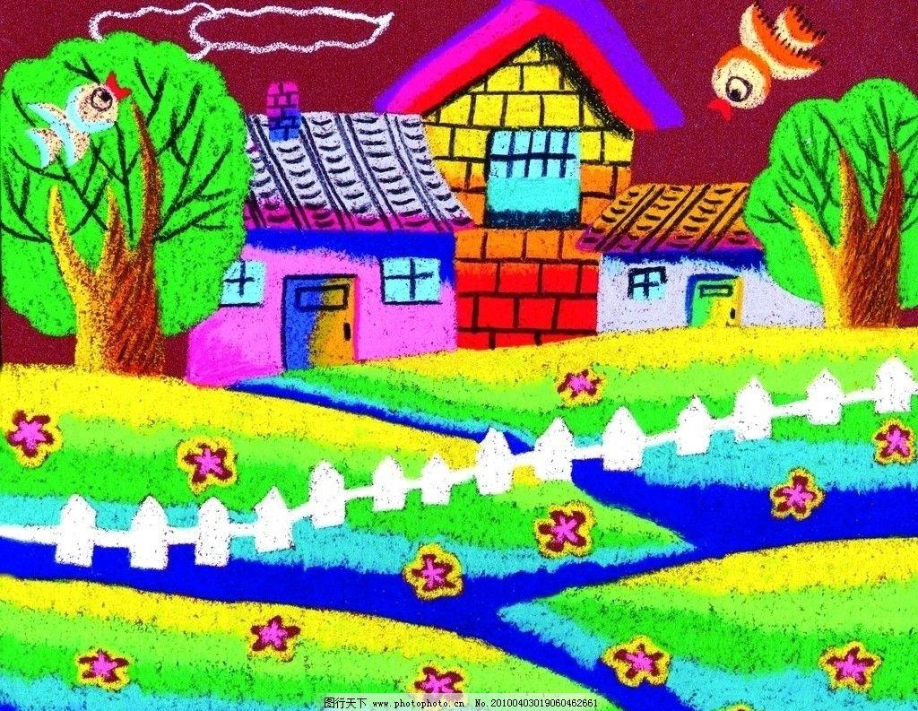 我的家乡 儿童泥沙画 色彩鲜艳