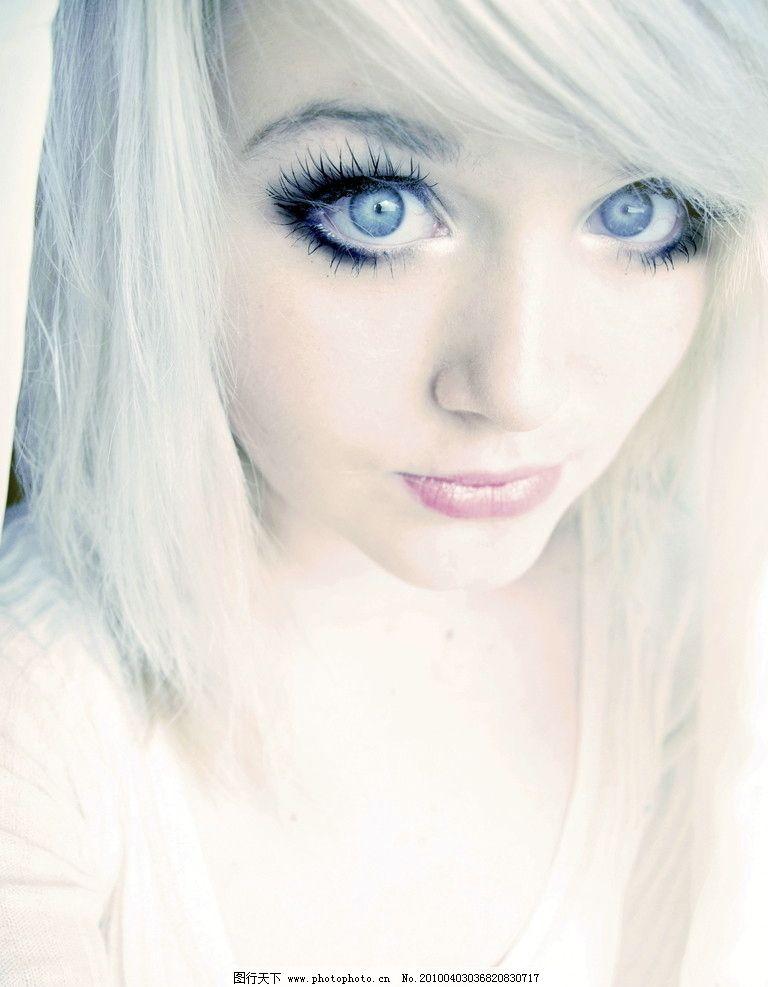 大眼美女 大眼睛 眼神 白色 白发 长发 美丽 美女 清纯 可爱 睫毛 人像 女人 女子 女孩 妇女 国外 摄影 摄像 红唇 女性女人 人物图库 72DPI JPG