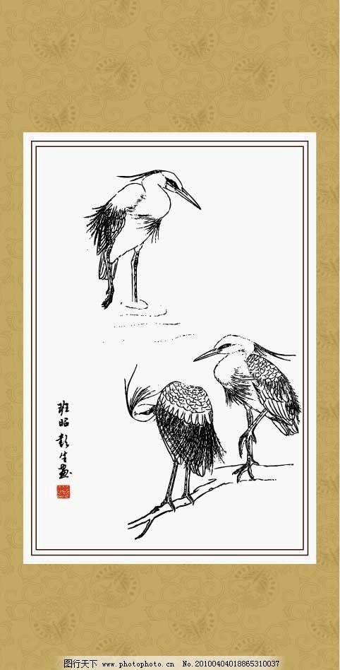 白鹭 线描 白描 绘画 工笔 国画 动物 传统纹样 矢量