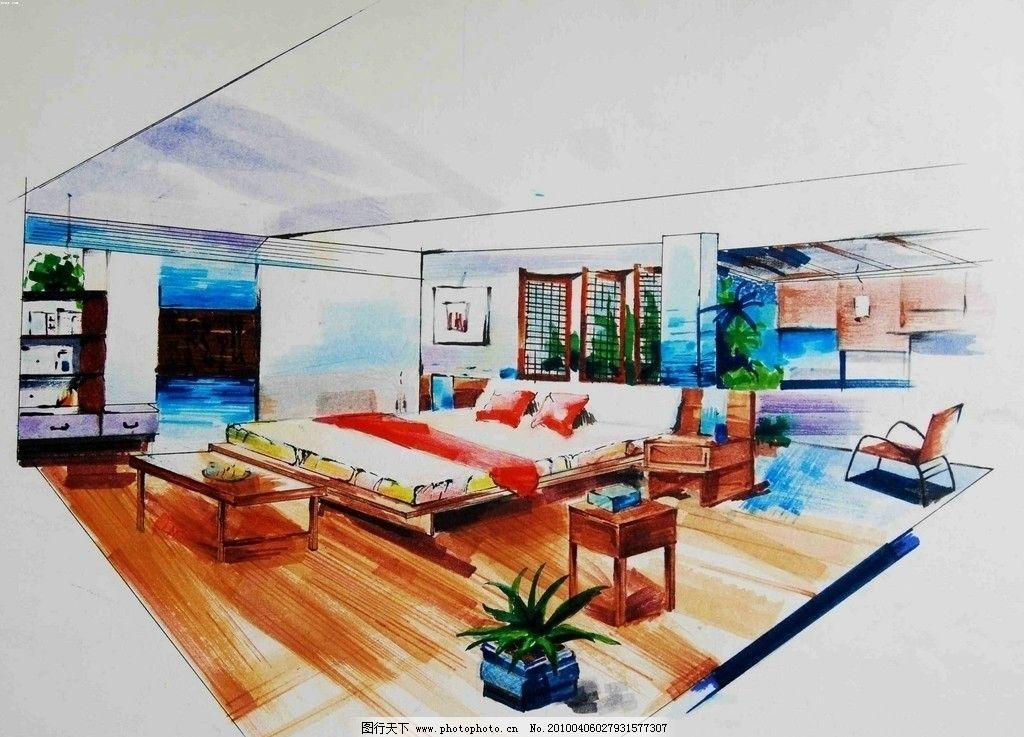 手绘效果图 设计 手绘        室内设计 环境设计 主卧 卧室效果图 72