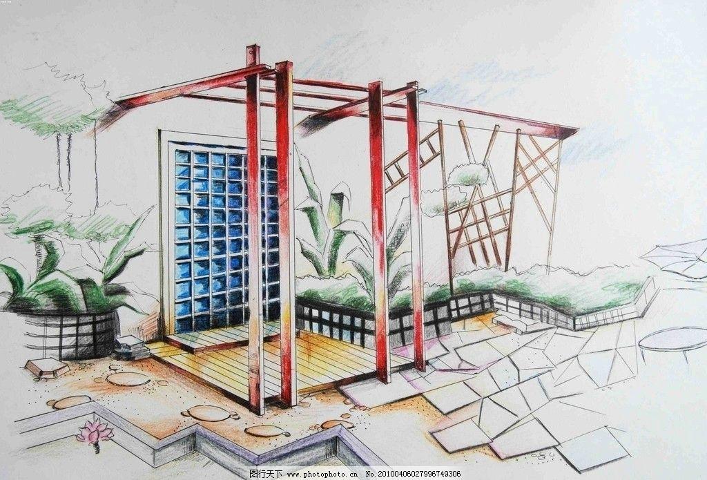 手绘效果图 设计 手绘        室内设计 环境设计 景观手绘 景观入口