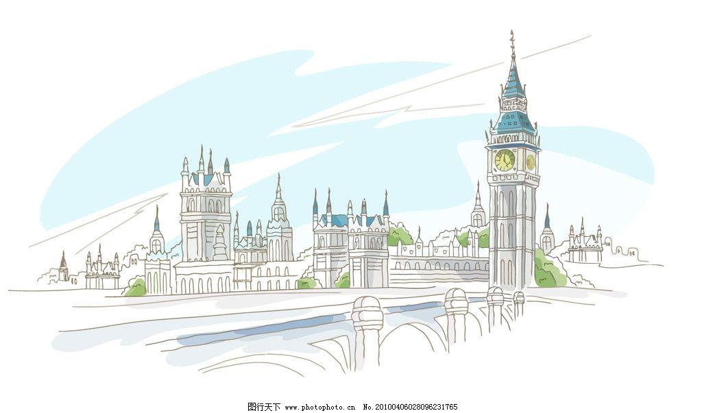 城市 钟 桥 线描 水彩画 风景 城市建筑 建筑家居 矢量 ai