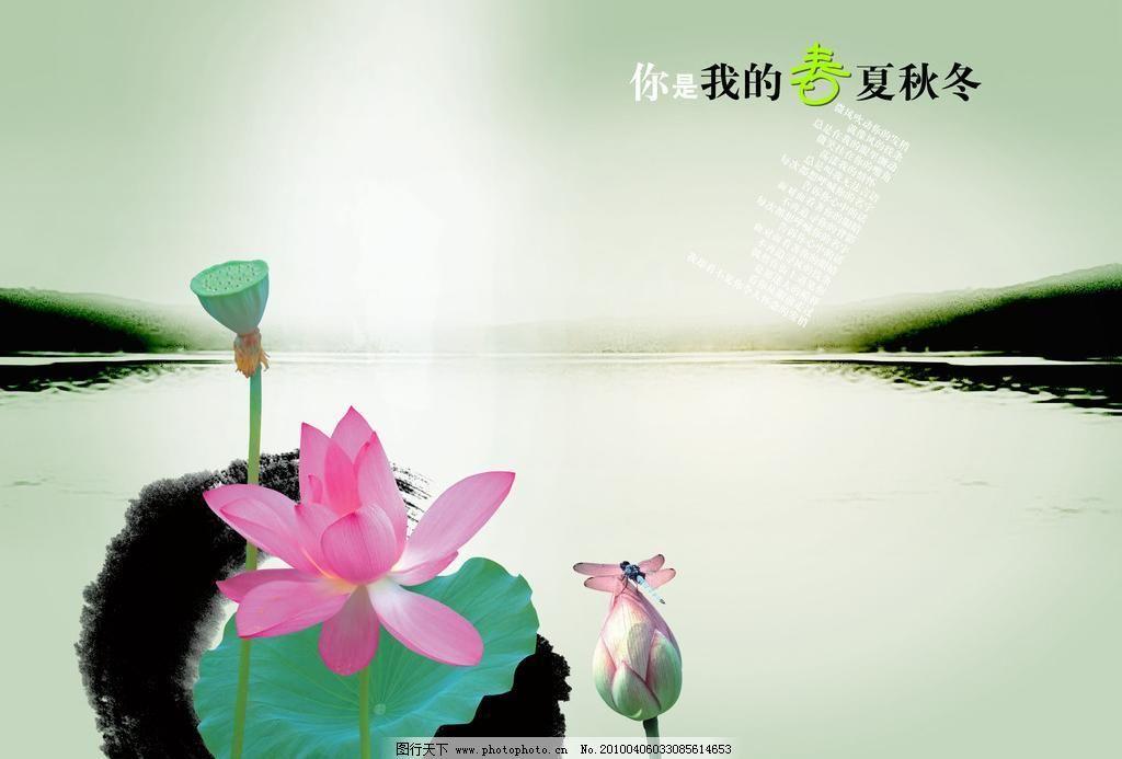 150dpi psd psd分层素材 荷花 藕 蜻蜓 山 思念 源文件 思念素材下载