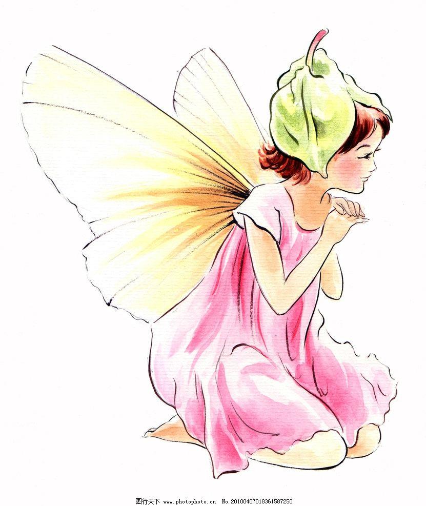 手绘小仙子 手绘 翅膀 叶子 动漫人物 动漫动画 设计 300dpi jpg