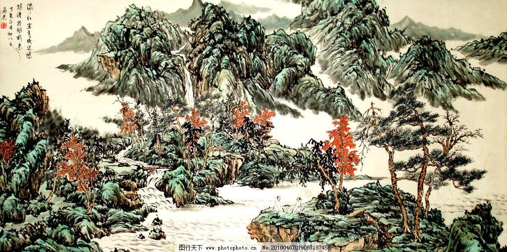 山水画 画 国画 工笔画 水墨画 山水 山 山岭 瀑布 溪流 房屋 树木