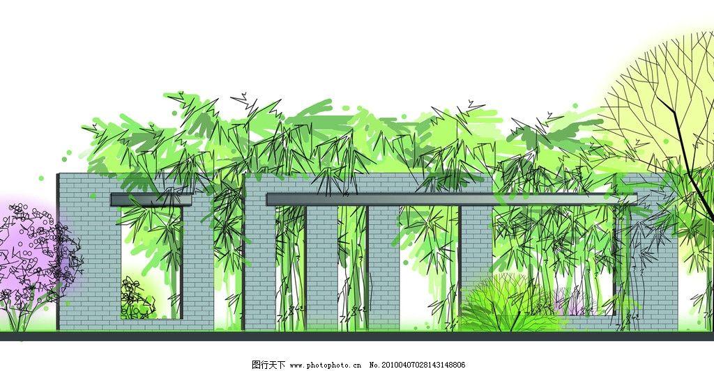 景观设计手绘效果图 建筑 树木 彩色铅笔