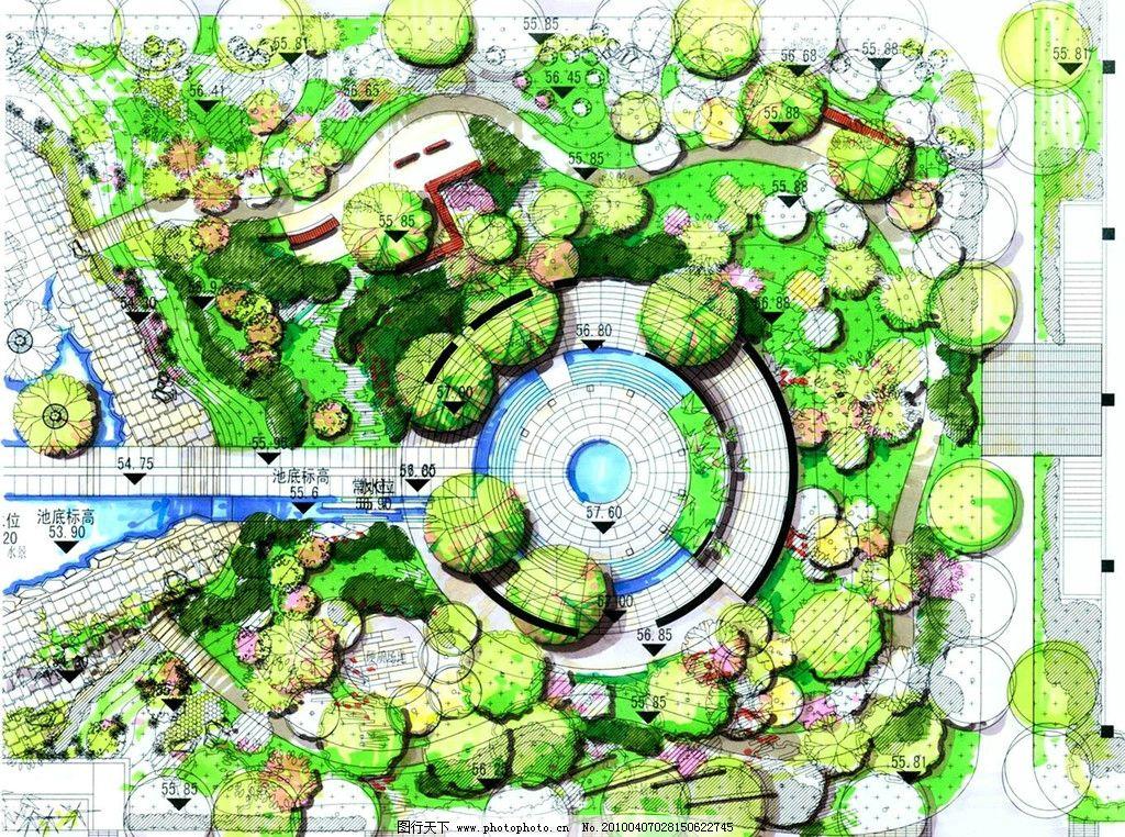 景观设计手绘效果图 景观 平面 彩色铅笔 设计 手绘        景观设计