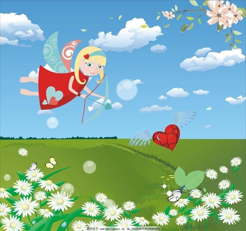 卡通移门图案 女孩 心 心型 飞扬的心 弓箭 翅膀 花 花朵 蝴蝶