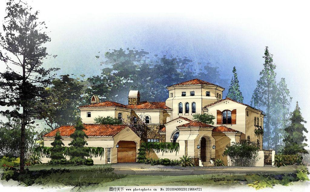 景观设计手绘效果图 别墅 树木 彩色铅笔