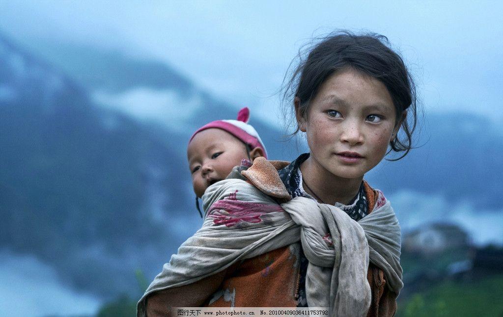 西藏孩子手绘素材