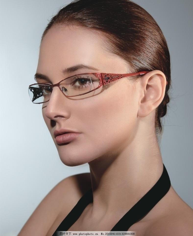 图片素材下载 眼镜代言 眼镜 女人 女性 局部特写 头部特写 高清图片