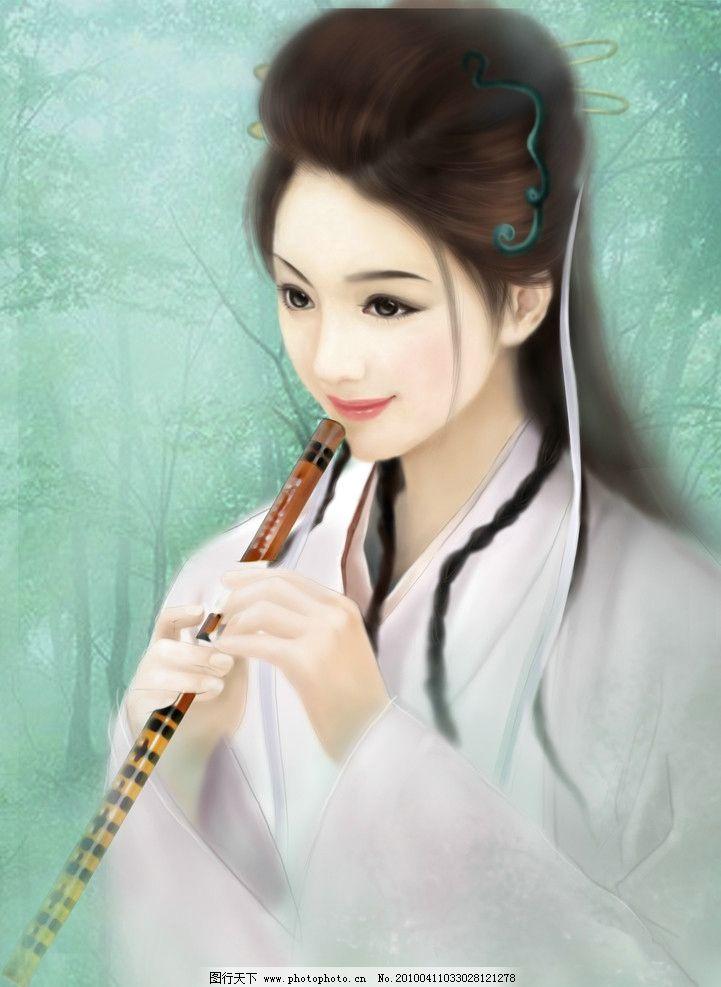 古典美女 cg 动漫 手绘 游戏 梦幻 树林 绿色 清新 自然 幽雅 笛子