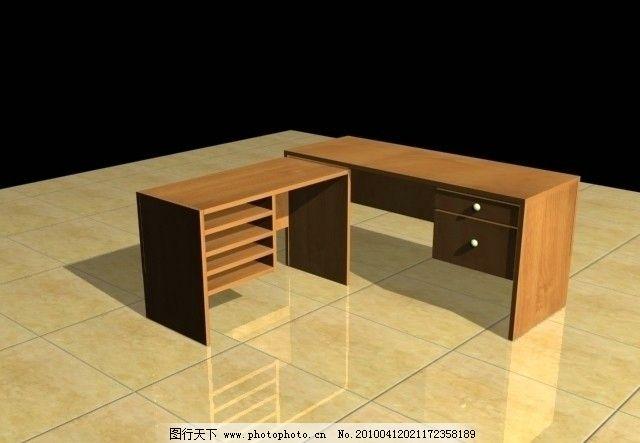 3d 桌子 模型 地板 木材 抽屉 组合 家具 办公 室内模型