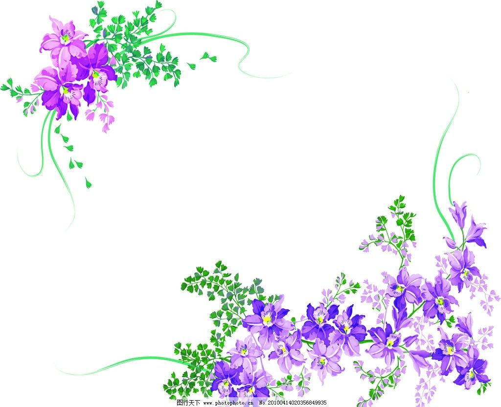 花边 紫罗兰 绿叶 花朵 花纹花边 底纹边框 矢量 ai