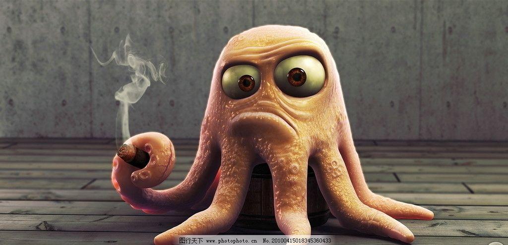 卡通章鱼 抽烟章鱼 大眼睛 动漫动画