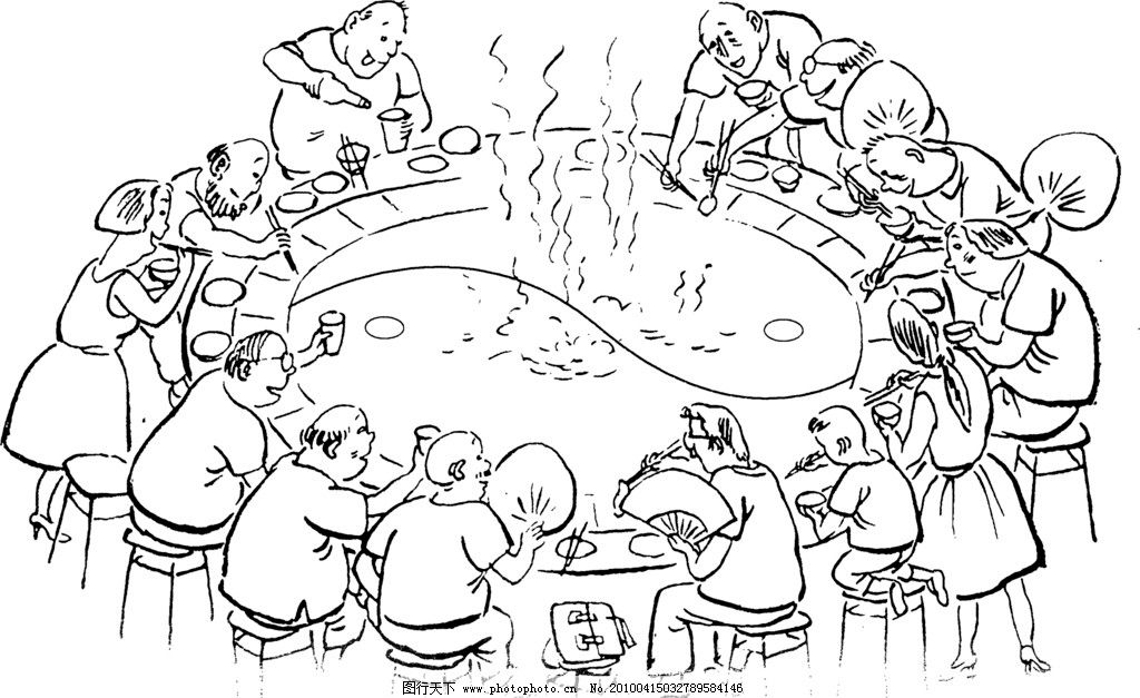 重庆火锅 黑白 古代 漫画    吃火锅 夏天 热 聚餐 可爱 形象 吃饭