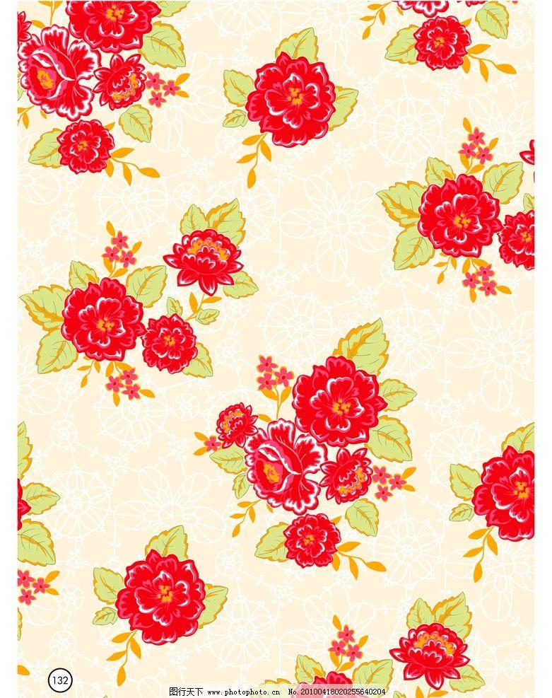 花丛 叶子 红色 浅绿 橙色 几何暗纹 窗花 底纹 印花 包装 面料 设计