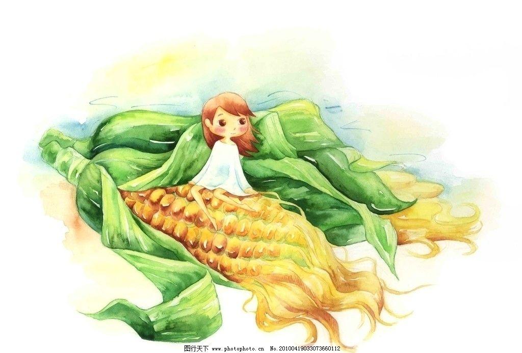 卡通儿童女孩 玉米图片