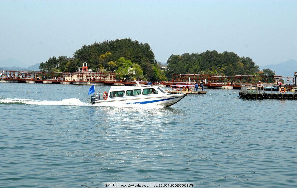 千岛湖风景 天空 云 岛 湖 树林 桥 游人 游艇 自然风景 自然景观