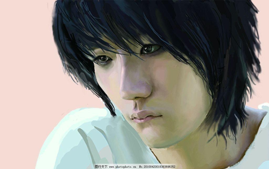 临摹 l 男生 笔记 动漫人物 动漫动画 设计 150dpi jpg