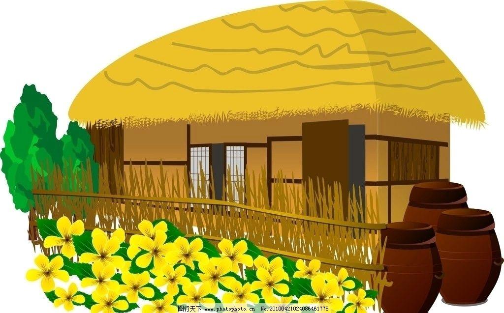 农场小屋 卡通 可爱 春天来了