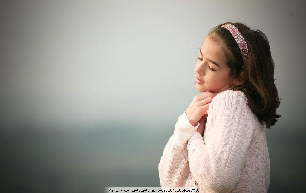 清纯可爱的英国女孩 西方 欧美 休闲 清新 头巾 女性女人 摄影
