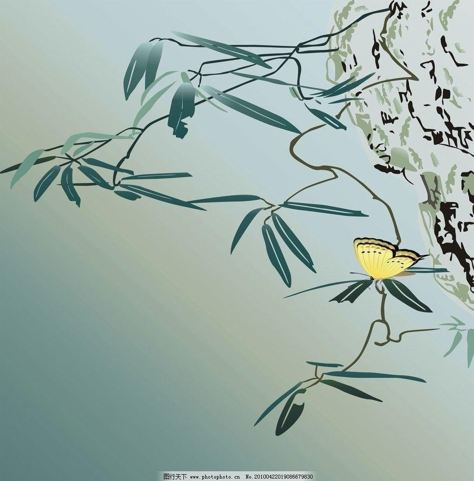 国画竹 竹 竹子 竹叶 国画 蝴蝶 石头 美术绘画 文化艺术 矢量 cdr