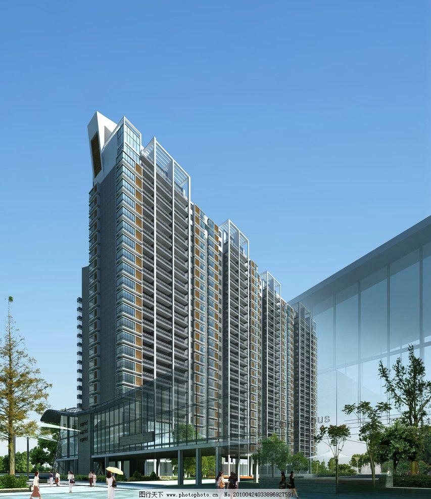 高層建筑效果圖 酒店 沿街 大廈 大樓 網球 藍天 白云 現代