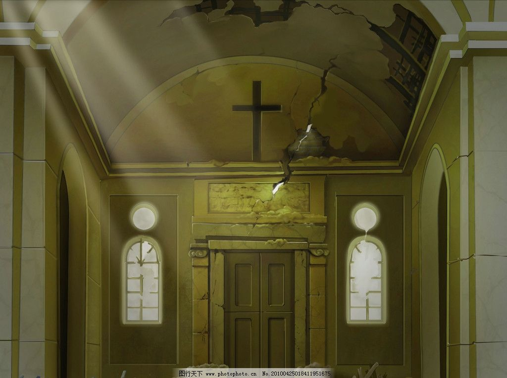 设计图库 动漫卡通 风景漫画  教堂大门 建筑景观效果图夜景 建筑夜景