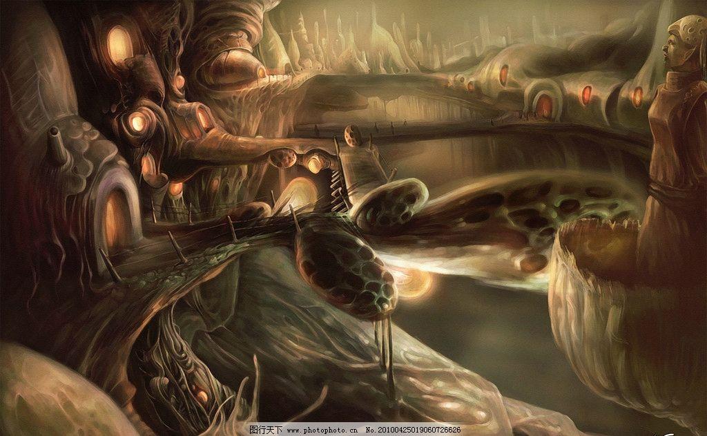 创意油画 油画 绘画 创意城堡 神密 怪物 桥 水 山 雕像 广告素材 300