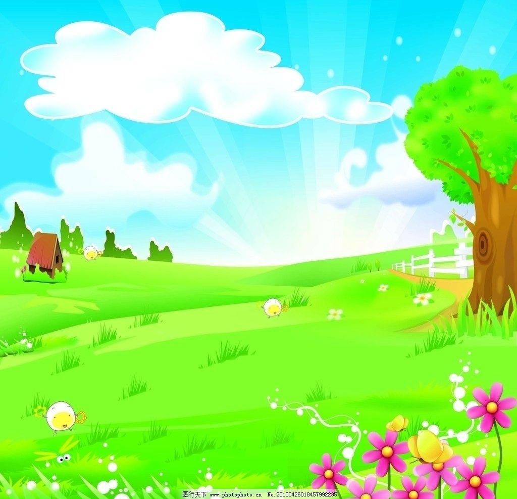 春色满田 移门 卡通 春天 花 黄色蝴蝶 树 房子 草地 小鸡 围栏 风景