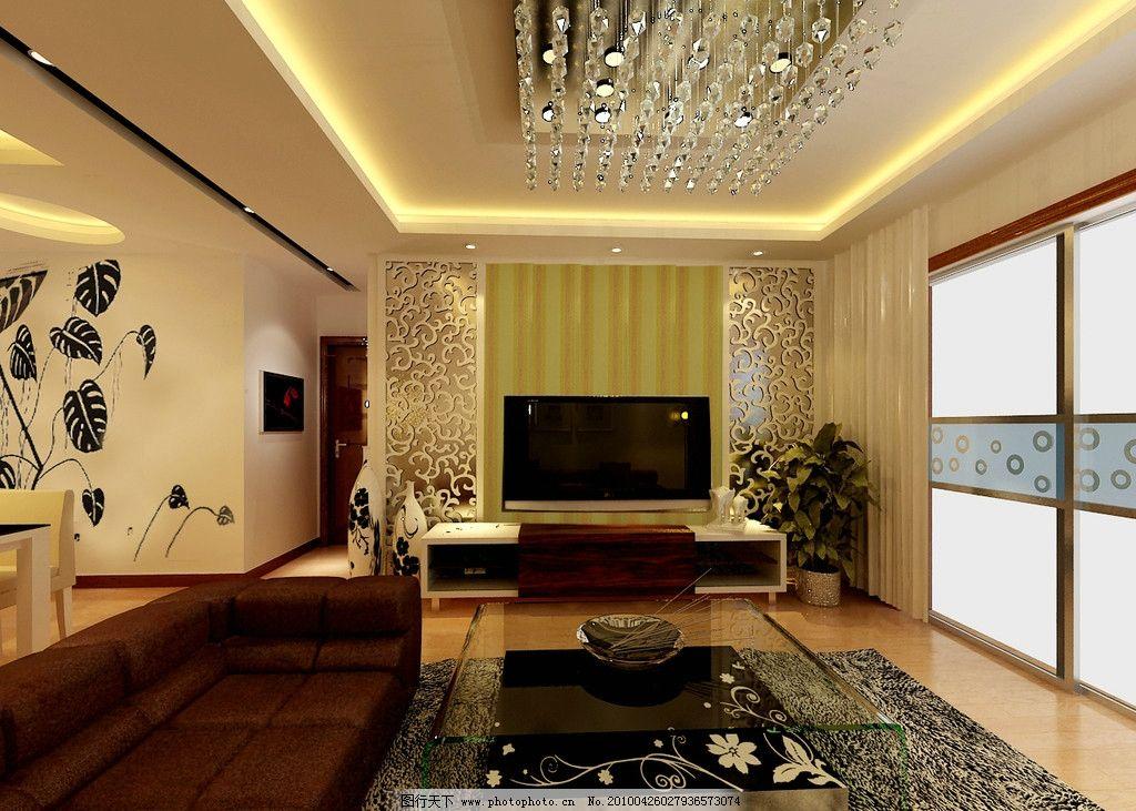 客厅效果图 电视背景墙 水晶灯 雕花 茶镜 墙纸 手绘 地板 移门 室内