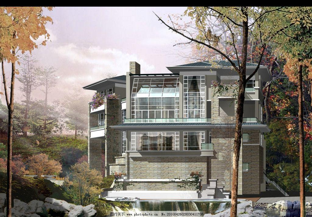 别墅 建筑        建筑设计 建筑效果图 单体建筑 鸟瞰图 盘 小区