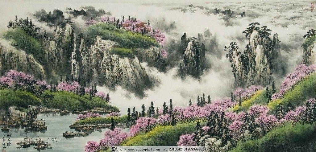 山水画 画 中国画 工笔画 水墨画 写意画 山水 山岭 亭子 树木 花木