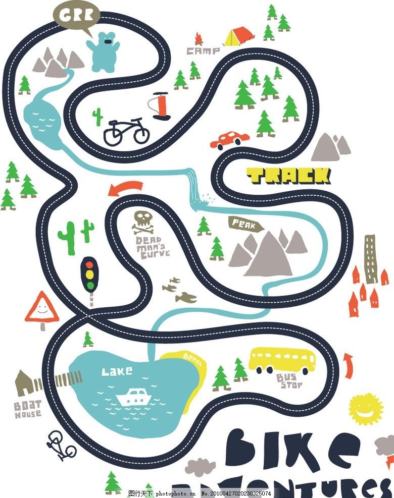 游戏图t恤图案 可爱 涂鸦 自行车 红绿灯 底纹背景 矢量