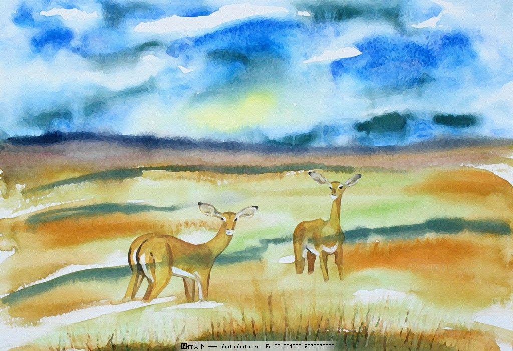 风景油画 蓝天 草地 鹿 动物 树 田野 山 白云 绘画 广告素材