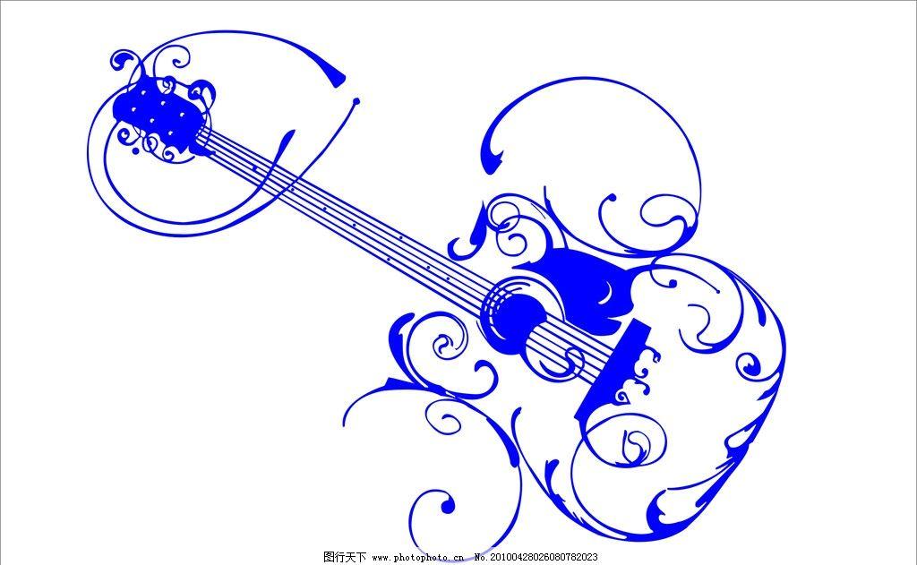 吉它图片,花纹 线条花纹 矢量-图行天下图库