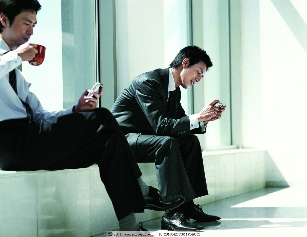 商务人士下午茶 商务 精英 喝咖啡 玩手机 下午茶 移动全球通商务篇