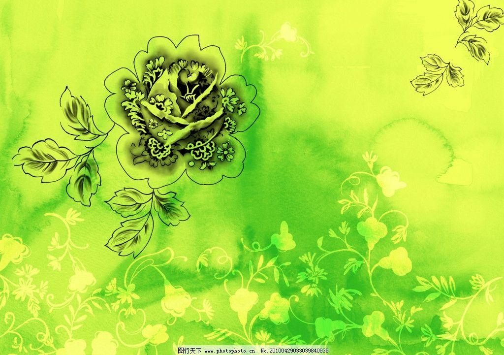 水彩背景 水彩 花朵 水墨背景 精美花纹 绿色背景 手绘 背景素材 psd