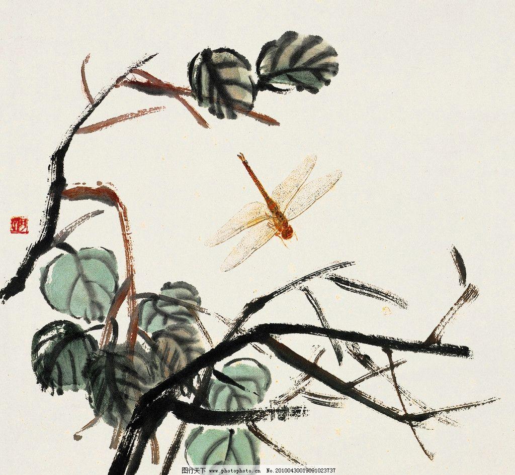 蜻蜓点水 齐白石国画 齐璜 工笔画 水墨画 白石老人 树木 山水