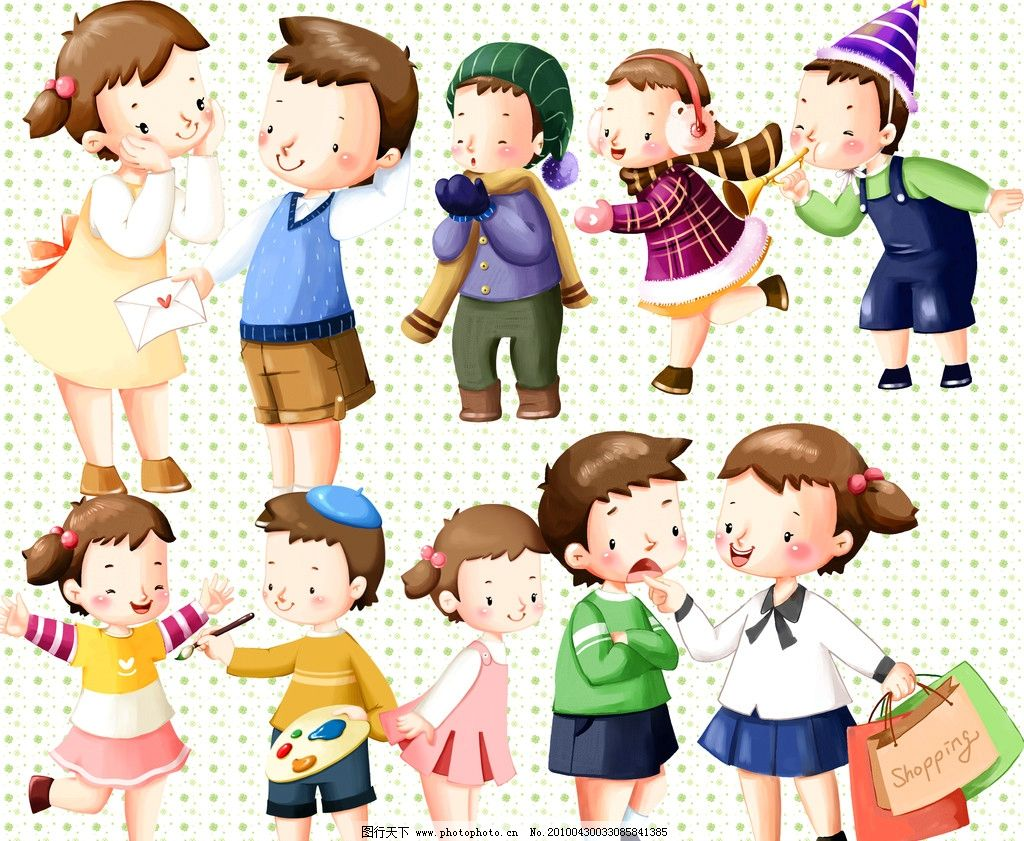 水彩风格可爱儿童 水墨 男孩 女孩 卡通 人物 源文件