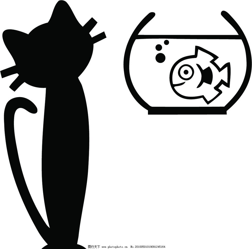 猫和鱼缸 猫和浴缸 矢量图 墙贴 交换空间 墙贴源文件 美术绘画 文化