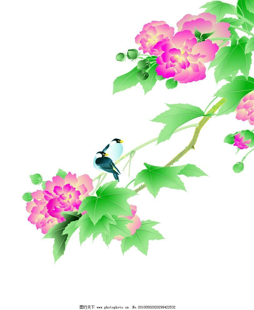 清新花鸟边框底纹