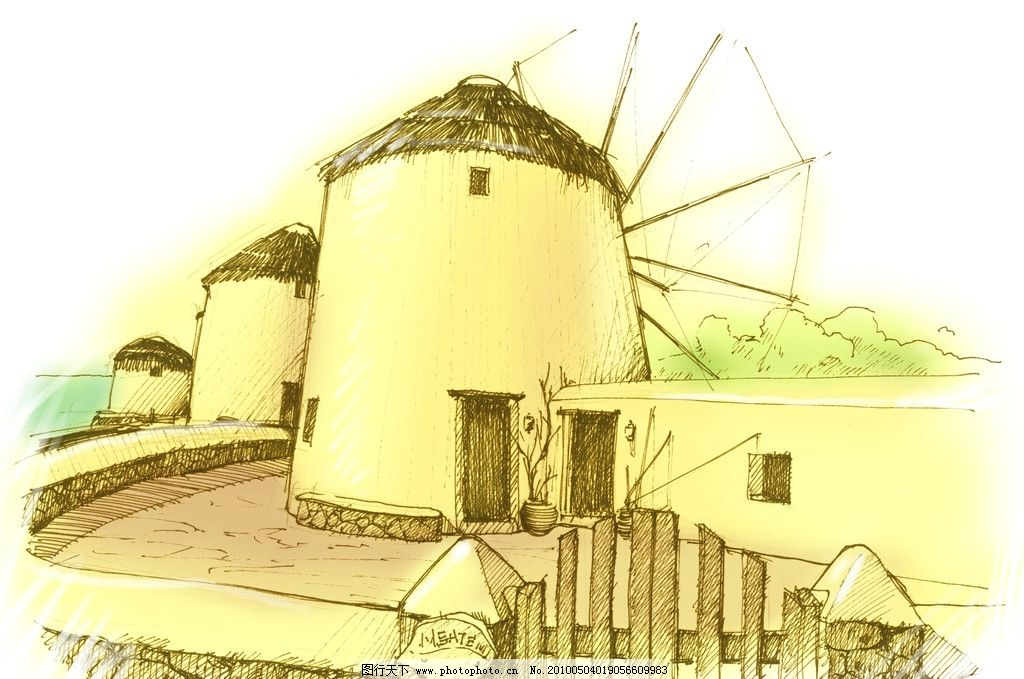 卡通风车 手绘风车 壁纸 绘画书法 文化艺术