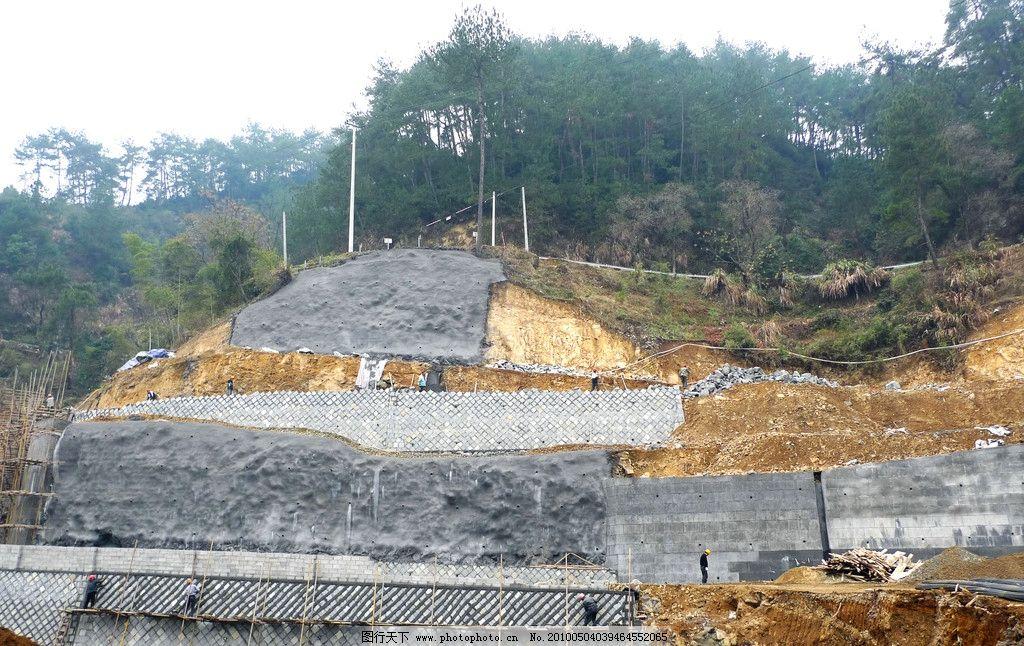 边坡治理 地质灾害治理 挡土墙 土钉墙 重力式挡土墙 拉锚 锚杆 工地图片