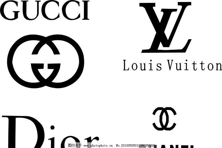 gucci lv dior chanel服装品牌标识图片