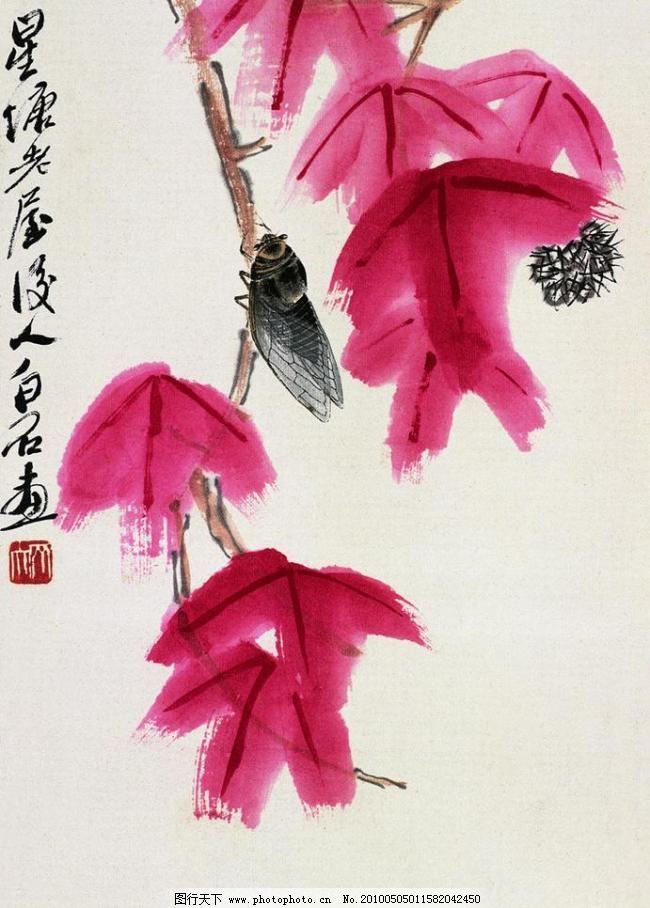 齐白石国画 虫子 枫叶 工笔画 绘画书法 昆虫 婵 齐璜 水墨画